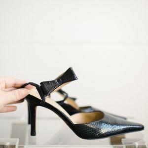 Ellen Tracy Slingback with Bow Black Heels 8 Women